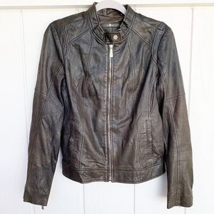For All Mankind Black Leather Moto Jacket M